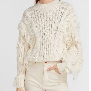 NWT! Express Cable Knit Fringe Sweater